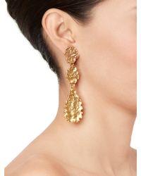 Oscar de la Renta - Metallic Goldplated Crystal Earrings - Lyst