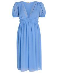 Vanessa Bruno - Blue Crinkle Chiffon V-neck Dress - Lyst