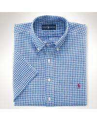 Polo Ralph Lauren | Blue Plaid Cotton Oxford Shirt for Men | Lyst