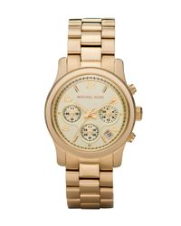 Michael Kors | Metallic Yellow Golden Midsized Chronograph Watch | Lyst