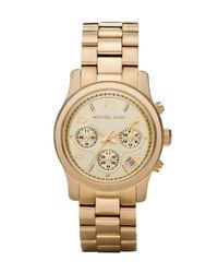 Michael Kors | Yellow Golden Midsized Chronograph Watch | Lyst