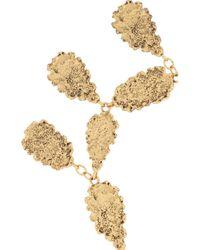 Oscar de la Renta - Metallic Hammered Goldplated Leaf Necklace - Lyst
