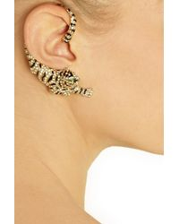 Roberto Cavalli - Metallic Goldplated Swarovski Crystal Cuffstyle Tiger Earrings - Lyst