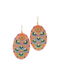 Miguel Ases | Multicolor Beaded Oval Earrings | Lyst