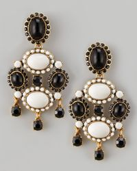 Oscar de la Renta | White Cabochon Drop Clip Earrings | Lyst