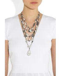 Bottega Veneta | Gray Oxidised-Silver Crystal Necklace | Lyst