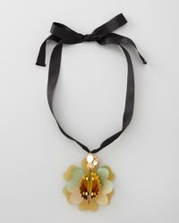 Marni | Orange Horn Flower Pendant Necklace | Lyst