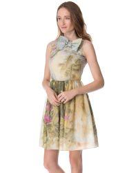 RED Valentino - Multicolor Tropical Landscape Organza Dress - Lyst