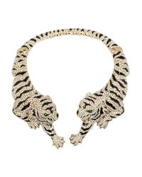 Roberto Cavalli | Metallic Goldplated Swarovski Crystal Tiger Necklace | Lyst