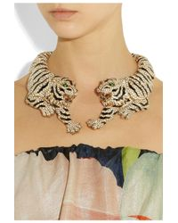 Roberto Cavalli | Metallic Goldplated Swarovski Crystal Tiger Necklace | Lyst