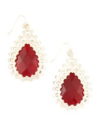 Kendra Scott | Red Finn Pink Agate Earrings | Lyst