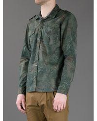 Mauro Grifoni - Green Leaf Print Shirt for Men - Lyst