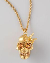 Alexander McQueen | Metallic Hummingbird Skull Pendant Necklace | Lyst