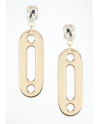 Bebe - Metallic Oversized Link Crystal Earrings - Lyst