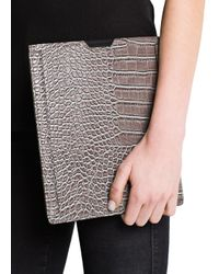 Mango - Gray Touch Croc Embossed Ipad Case - Lyst