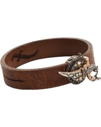 Sevan Biçakci - Brown Leather Bracelet with Diamond Dagger Closure - Lyst