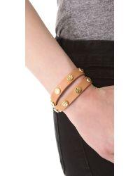 Tory Burch - Brown Double Wrap Logo Stud Bracelet - Lyst