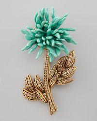 Oscar de la Renta - Blue Floral Brooch Aqua - Lyst