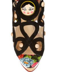 Charlotte Olympia - Black Anastasia Suede and Wooden Sandals - Lyst
