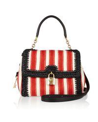 Dolce & Gabbana | Red Fiori Embellished Woven Shoulder Bag | Lyst
