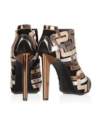 Pierre Hardy   Gold Mirrored Leather-Trimmed Suede Ankle Boots   Lyst