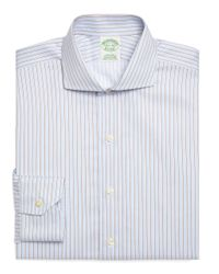 Brooks Brothers | Blue Supima Cotton Noniron Regular Fit Alternate Stripe Twill Luxury Dress Shirt for Men | Lyst