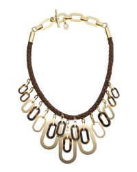 Michael Kors | Metallic Leather Links Necklace | Lyst