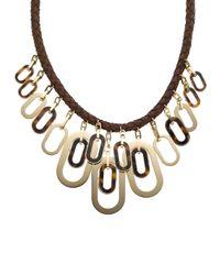 Michael Kors - Metallic Leather Links Necklace - Lyst