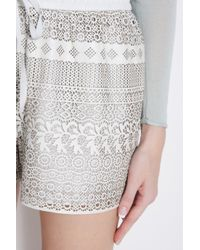 Raoul - White Leather Laser Cut Shorts - Lyst