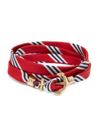Brooks Brothers | Kiel James Patrick Red Mini Bb#1 Stripe Wrap Bracelet for Men | Lyst
