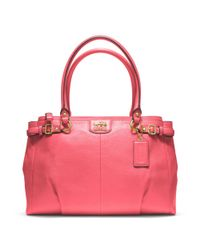 COACH - Pink Madison Leather Kara Carryall - Lyst