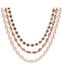 COACH | Pink Triple Strand Rhinestone Necklace | Lyst
