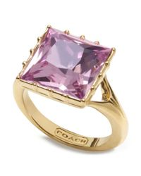 COACH - Purple Stone Cocktail Ring - Lyst