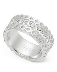 COACH - Metallic Sterling Op Art Pave Band Ring - Lyst