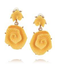 Oscar de la Renta - Yellow Goldplated Resin Rose Clip Earrings - Lyst