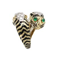 David Webb | Metallic Double Tiger Ring with Emeralds and Diamonds | Lyst