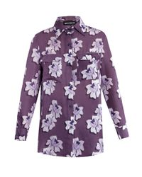 House of Holland - Purple Floral Print Silk Blouse - Lyst
