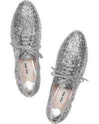 Miu Miu | Metallic Glitter Oxford | Lyst