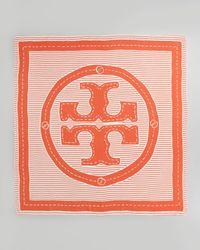 Tory Burch - White Striped Logo Square Scarf - Lyst