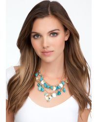 Bebe | Blue Turquoise Coin Layered Necklace | Lyst