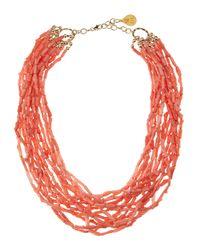 Devon Leigh - Orange Peach Coral Multi Strand Necklace - Lyst