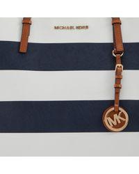 MICHAEL Michael Kors Jet Set Striped Travel Tote Handbag in White - Lyst 9a0980d54d