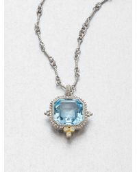 Judith Ripka | Blue Topaz Sterling Silver Pendant Necklace | Lyst