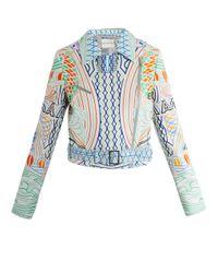 Mary Katrantzou | Blue Lella Peppermint Leather Biker Jacket | Lyst