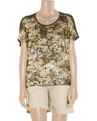 MICHAEL Michael Kors   Gold Camouflage-pattern Sequined Top   Lyst