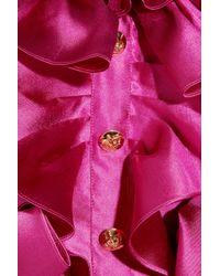 Moschino | Pink Ruffled Silkmikado Mini Dress | Lyst
