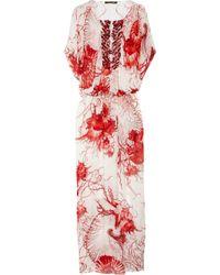 Roberto Cavalli | Multicolor Shell-Print Silk-Chiffon Kaftan | Lyst