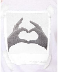 ASOS - White T-Shirt with Photo Heart - Lyst