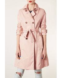 TOPSHOP | Pink Unlined Seamed Trench Coat | Lyst