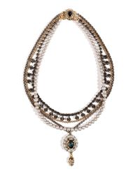 Mawi - Gray Antique Pearl and Crystal Necklace in Grey - Lyst